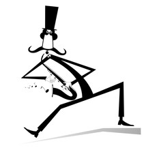 Cartoon Long Mustache Saxophon...