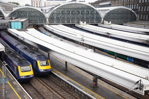 Trains leaving at Paddington railway station in London