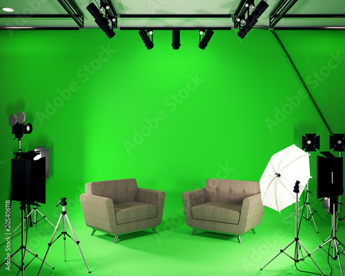 Studio BIg - Modern Film Studio with Green Screen. 3D rendering - 205406118