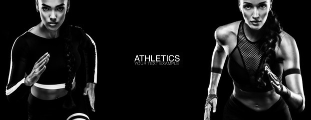 Sport concept. Black and white photo. A strong athletic, women sprinter, running isolated on black, wearing in the sportswear, fitness and sport motivation. Runner concept.