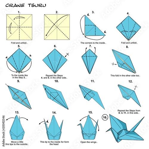 Origami Crane Steps Diagram Instructions Paperfolding Paper Art