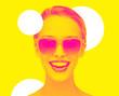 Leinwandbild Motiv happiness and people concept - portrait of happy amazed teenage girl in sunglasses, trendy duotone effect