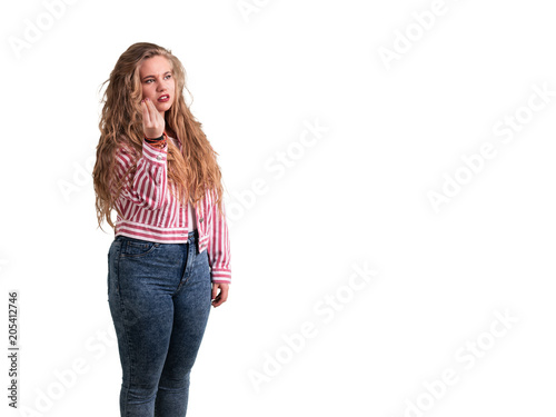 Valokuva  Confused girl doing a italian gesture of not understanding