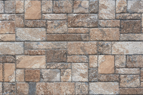Seamless texture of brown stone - Stone tile floor paving fragment Canvas Print