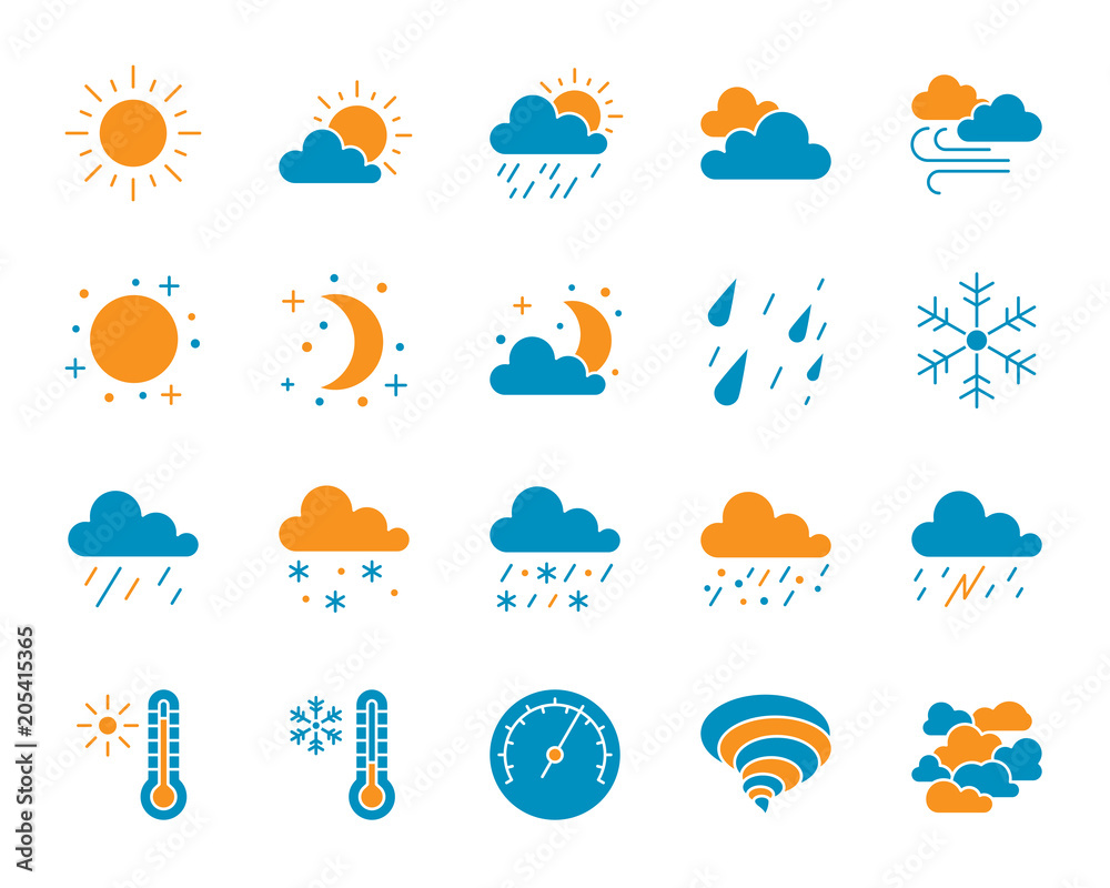 Fototapety, obrazy: Weather simple color flat icons vector set