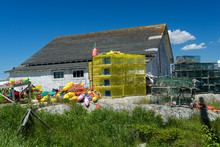 Lobster Traps And Buoys Piled ...