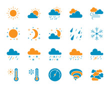 Weather Simple Color Flat Icons Vector Set
