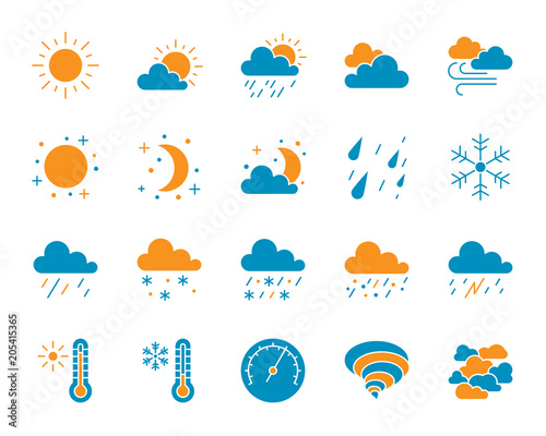 Fotografie, Obraz Weather simple color flat icons vector set