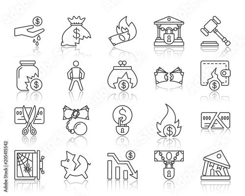 Fotografía Bankruptcy simple black line icons vector set