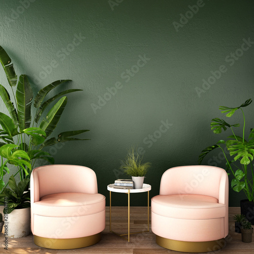 Fototapeta interior design for living area or reception with  armchair,plant,cabinet on wood floor and deep green background / 3d illustration,3d rendering obraz