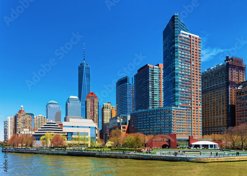 View from Ferry on Hudson River and Battery Park NY Wallpaper Mural