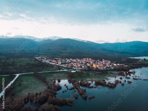 Small town in summer from high