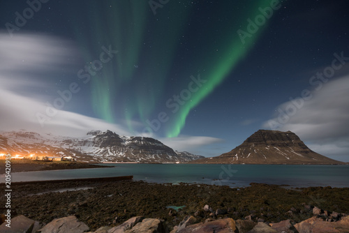 Garden Poster On the coast the Aurora Borealis shining on Kirkjufell one the most famous landmark in Iceland
