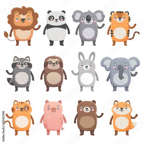 Canvas Prints Owls cartoon Cute smiling animals set. Lion, panda, koala, tiger, bear, pig, fox, sloth, raccoon, cat. Simple flat style, isolated vector illustrations on white background