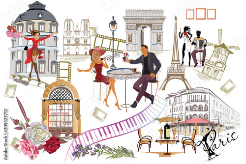 Obraz Set of Paris illustrations with fashion girls, cafes and musicians. Vector illustration. - fototapety do salonu