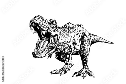 Graphical  dinosaur isolated on white background,vector tyrannosaurus,tattoo Wallpaper Mural