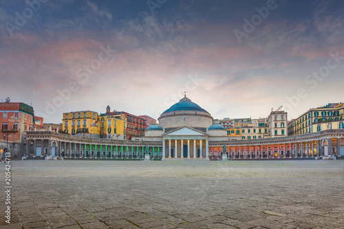 Spoed Foto op Canvas Napels Sunset view of San Francesco di Paola church at Piazza del Plebiscito in Naples, Italy