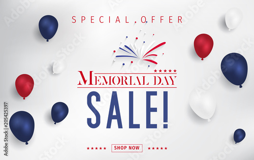Banner for Memorial day sale design. Memorial day sign on a dark blue background with 3d percent symbol. Vector illustration for business promotion.