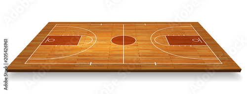 Obraz Perspective Basketball court floor with line on wood texture background. Vector illustration - fototapety do salonu