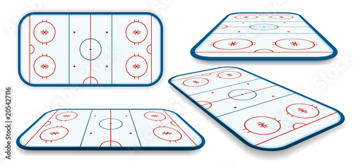 Photo detailed illustration set of a icehockey rink, field, court with different persp