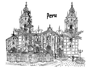 Peru Lima sketch black and white palm palace fountain