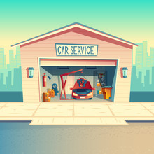 Vector Cartoon Mechanic Workshop With Car, Installing Engine. Repairing, Fixing Vehicle In Garage. Storeroom With Tools, Parts And Details. Automobile Service Near With The Road, Urban Business
