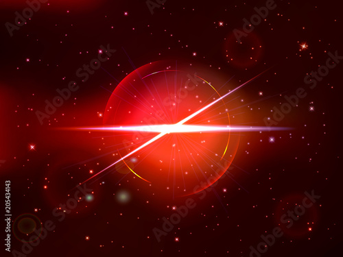 Spoed Foto op Canvas Bruin Abstract universe with red explosion background. Vector illustration.