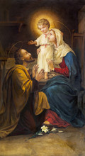 PARMA, ITALY - APRIL 16, 2018:  The Painting Of Holy Family In Church Chiesa Di San Benetetto By Unknown Artist Of 19. Cent.