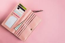Open Female Pink Wallet. Flat ...