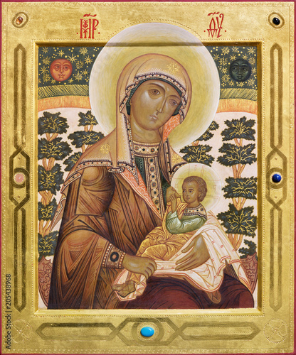 BOLOGNA, ITALY - APRIL 18, 2018: The icon of Madonna in church Chiesa di San Pietro by fr. Luigi Toffanin.