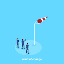 Men In Business Suits Look At The Direction Of The Wind Over The Weathervane, Isometric Image