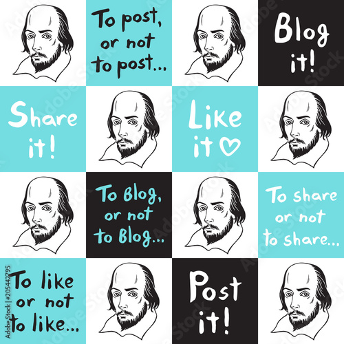 Obraz na plátně  Seamless vector pattern with Shakespeare portrait and social media funny citations