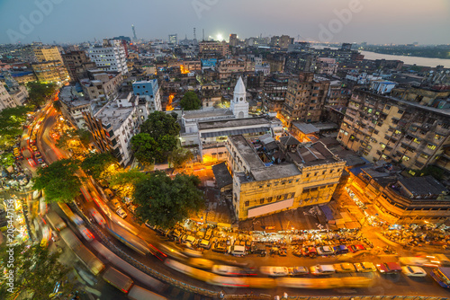 Spoed Foto op Canvas Asia land Kolkata city top view at night, West Bengal, India. Long exposure photo