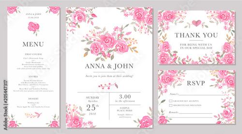 Fototapeta Set Of Wedding Invitation Card Templates With