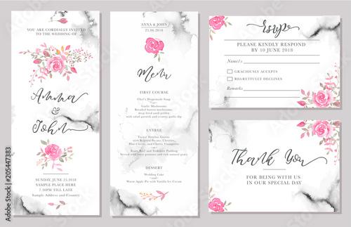 Fototapeta Set Of Wedding Invitation Card Templates With Watercolor Rose Flowers