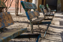 Old Broken Benches In The City Yard