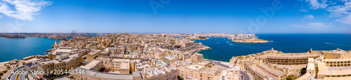 Deurstickers Luchtfoto Aerial panorama sunrise photo - Ancient capital city of Valletta Malta. Island Country of Europe in the Mediterranean Sea