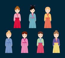 Icon Set Of Korean Girls In Tr...