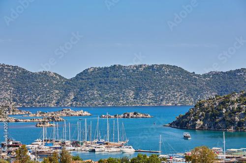 Foto op Plexiglas Turkije ancient city in Kekova and a boat with turkish flag, Antalya, Turkey.