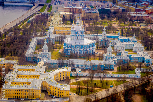 Foto op Canvas Historisch geb. Aerial view of the Smolny Cathedral bell tower, during a gorgeous sunny day located in the city of Saint-Petersburg