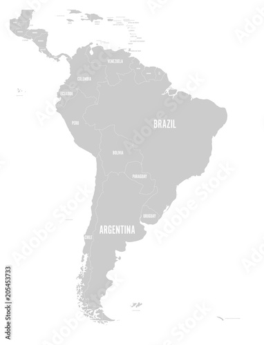Political map of South America. Simple flat vector map with ...