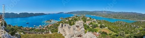 Wall Murals New Zealand Magnificent view of the Mediterranean bay with floating yachts and boats, Demre district, Turkey.