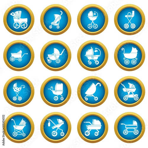 Baby carriage icons set Poster
