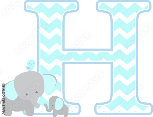 Initial H With Cute Elephant And Little Baby Isolated On