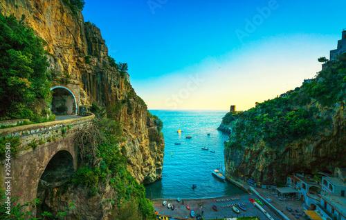 Fotografía Furore beach bay in Amalfi coast, panoramic view. Italy