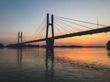Quincy Illinois Memorial Suspension Bridge At Sunset Over Mississippi River