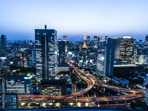 Poster Ruimtelijk 光輝く動脈、東京の夜景