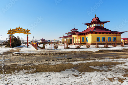 Fotobehang Temple Buddhist center of the Karma Kagyu. Small hurul temple in Elista. Kalmykia. Russia