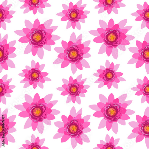 Beautiful Pink Lotus Flower Blossom Seamless Pattern Isolated On