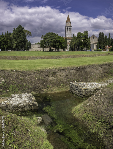 Outer wall of town defense and early christian basilica in Aquileia, Friuli, Ven Wallpaper Mural